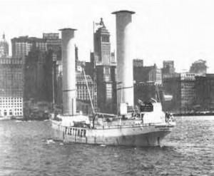 Rotorschiff 'Baden-Baden' bei der Ankunft im Hafen von New York am 10. Mai 1926